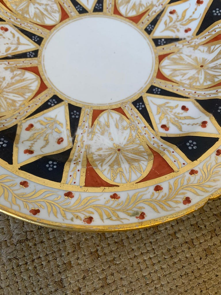 Pair of circa 1810 English Coalport Porcelain Plates with Gilt Detailing For Sale 8