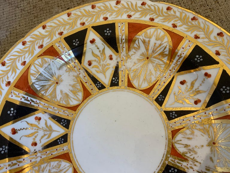Pair of circa 1810 English Coalport Porcelain Plates with Gilt Detailing For Sale 10