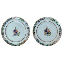 Pair of circa 1815 Chinese Export Famille Rose Armorial Porcelain Plates