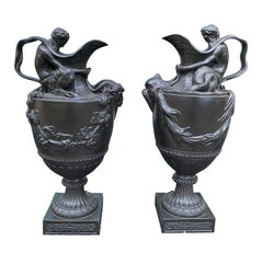 Pair of Circa 1840-1849 Wedgwood Black Basalt Ewers of Bacchus & Neptune, Marked