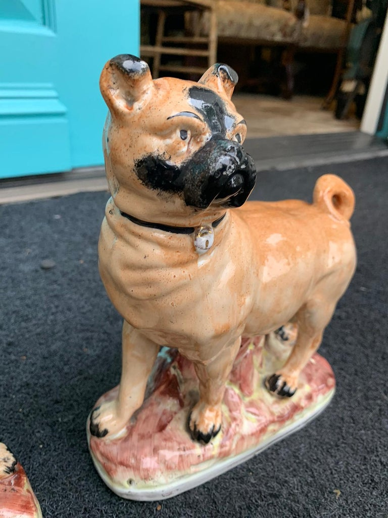 Pair of circa 1860 Staffordshire Pottery Figures of Standing Pugs For Sale 6