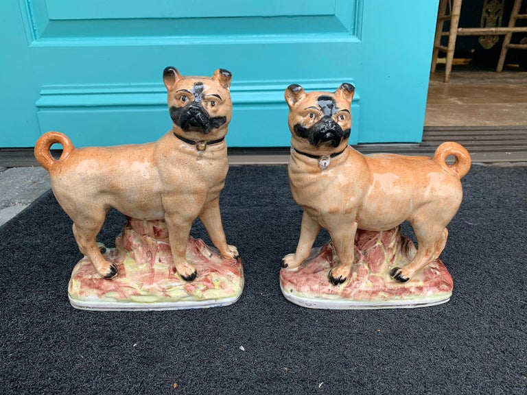 Pair of circa 1860 Staffordshire pottery figures of standing pugs Measure: One: 7.25