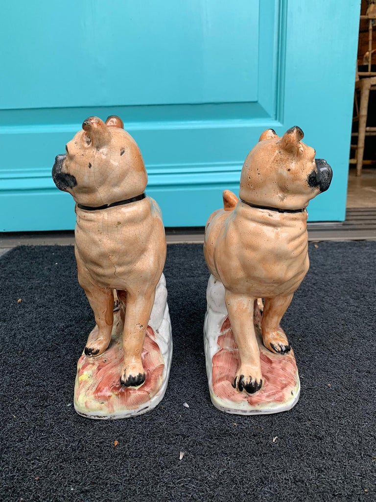 Pair of circa 1860 Staffordshire Pottery Figures of Standing Pugs In Good Condition For Sale In Atlanta, GA