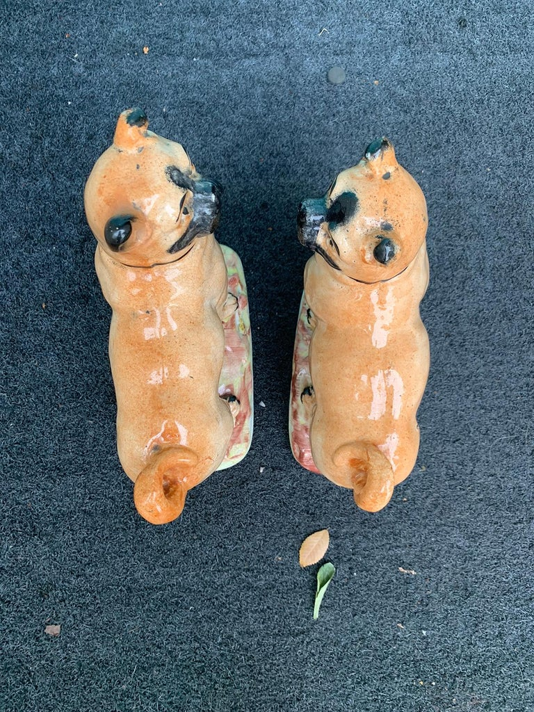 Pair of circa 1860 Staffordshire Pottery Figures of Standing Pugs For Sale 2