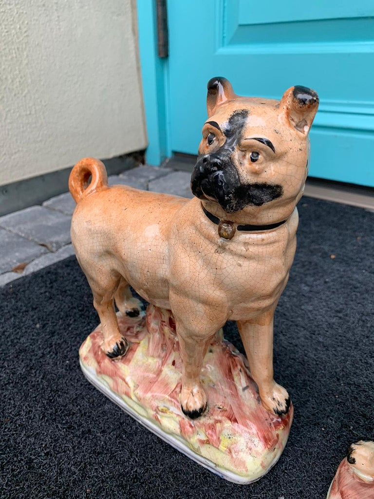 Pair of circa 1860 Staffordshire Pottery Figures of Standing Pugs For Sale 4