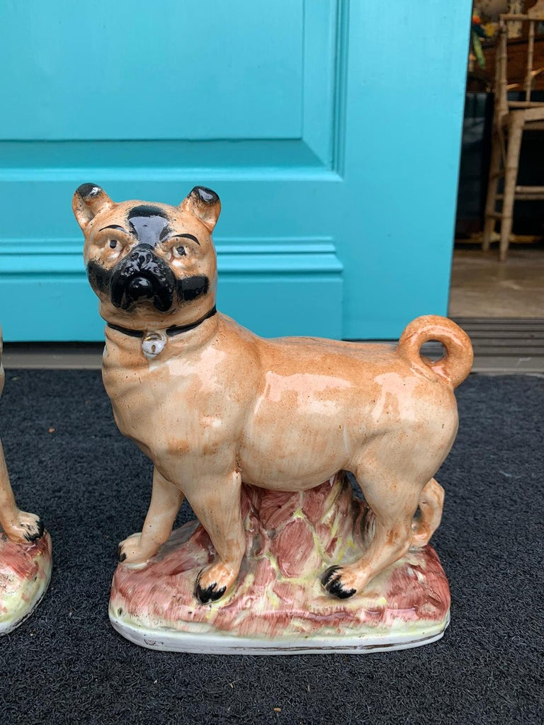 Pair of circa 1860 Staffordshire Pottery Figures of Standing Pugs For Sale 5