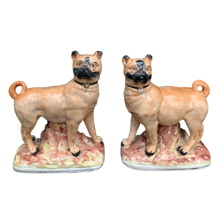 Pair of circa 1860 Staffordshire Pottery Figures of Standing Pugs For Sale