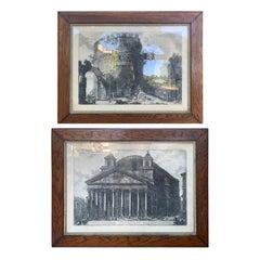 "Pair of circa 1870 Framed Italian Piranesi Prints from ""Vedute di Roma"""