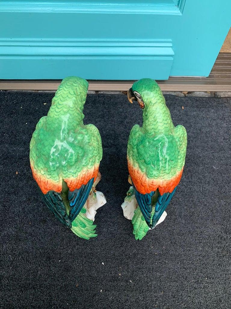 Pair of  Circa 1880s Edme Samson French Glazed Porcelain Parrots on Trunks For Sale 1