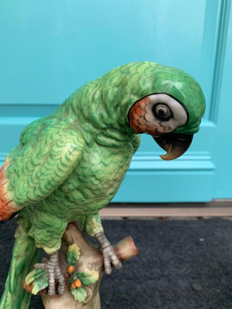 Pair of  Circa 1880s Edme Samson French Glazed Porcelain Parrots on Trunks For Sale 4