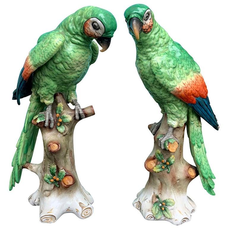 Pair of  Circa 1880s Edme Samson French Glazed Porcelain Parrots on Trunks For Sale