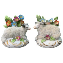 Pair of circa 1880s French Chelsea Style Porcelain Lambs by Edme Samson, Marked