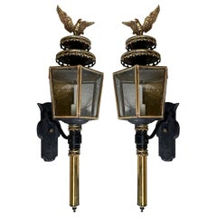 Pair of circa 1900 American Federal Brass and Iron Carriage/Coach Wall Lanterns