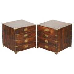 Pair of circa 1900 Anglo Indian Military Campaign Chests of Drawers Side Tables