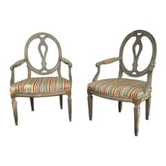 Pair of circa 1900 Antique Italian Armchairs