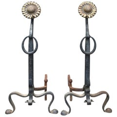 Pair of circa 1900 Brass and Wrought Iron Sunflower Andirons