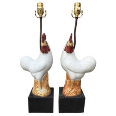 Pair of circa 1900 Chinese Porcelain Roosters as Lamps on Old Custom Bases