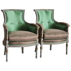 Pair of circa 1900 French Painted Armchairs in Silk