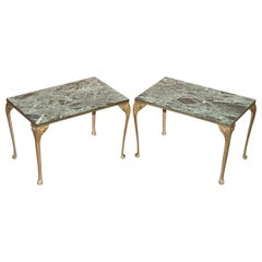 Pair of circa 1900 Green Marble Top Occasion Side Tables with Bronzed Frames