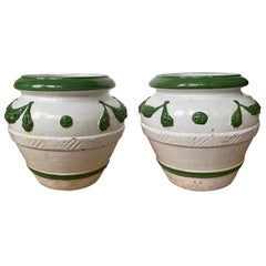 Pair of circa 1900 Italian Green and White Terracotta Cachepots with Garland