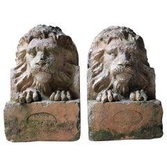 Pair of circa 1900 Terracotta Lions by Adam Mason & Sons of Horwich, Lancashire