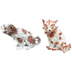 Pair of circa 1902 German Enameled Porcelain Bolognese Hounds by Dresden, Marked