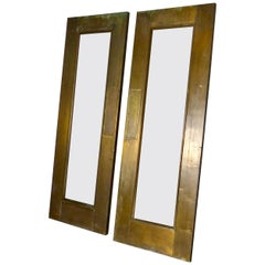 Pair of circa 1910 Brass Swing Doors with Push Plate