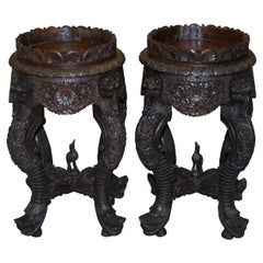 Pair of circa 1920 Burmese Carved Wood Jardinière Plant Pedestal Stands Lions