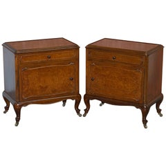 Pair of circa 1920 Burr Walnut Side Lamp or Bedside Table Nightstands Cupboards