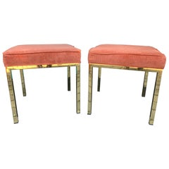 Pair of circa 1920 Milo Baughman Square Brass Stools with Upholstered Seats