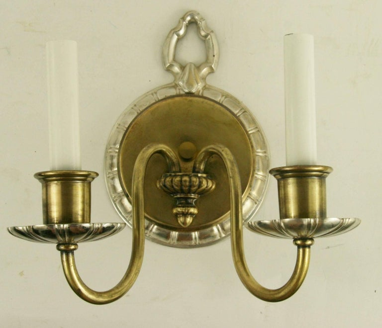 #2-1798, a pair of circa 1920s double arm silver plated patinated brass finish sconce.