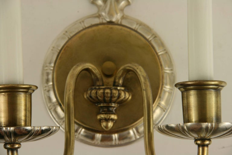 Pair of circa 1920s Two-Arm Sconce In Good Condition For Sale In Douglas Manor, NY