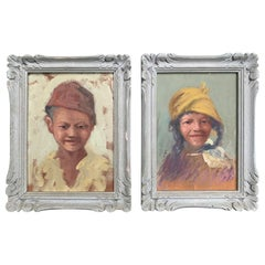 Pair of circa 1927 English Oil Portraits of Moroccan Children by Fanny Fildes