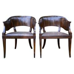 Pair of circa 1930 French Faux Bois Barrel Chairs