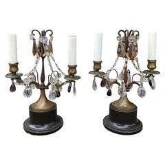 Pair of Circa 1930s French Maison Baguès Style Bronze Girandole Candelabras