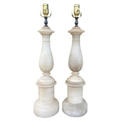 """Pair of Circa 1930s Neoclassical Hand Carved Alabaster Lamps, Marked """"Italy"""""""