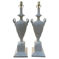 Pair of circa 1940s Italian Neoclassical Custom Painted Lamps, Swan Motif