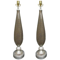 Pair of circa 1940s Murano Glass Lamps, Silver Gilt Bases, Poss. Barovier & Toso