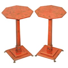 Pair of circa 1940s Red Lacquered Chinese Chinoiserie Side Lamp End Wine Tables