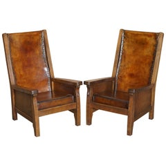 Pair of circa 1950's Hand Dyed Brown Leather Robert Mouseman Thompson Armchairs