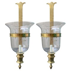Pair of Circa 1970s-1980s Chapman Brass Sconces with Hurricane Globes, Labeled
