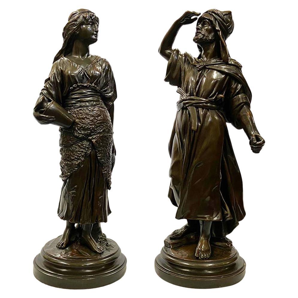 Pair of circa 19th Century Classical Bronzed Arab Statues