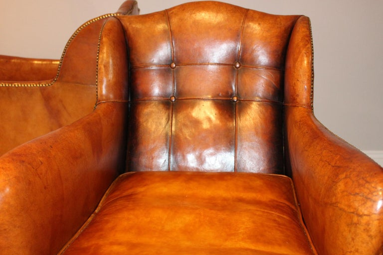 Victorian Pair of circa 19th Century Stylish Swedish Warm Tan Leather Studded Armchairs For Sale