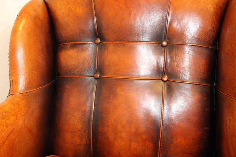 Pair of circa 19th Century Stylish Swedish Warm Tan Leather Studded Armchairs In Good Condition For Sale In London, GB