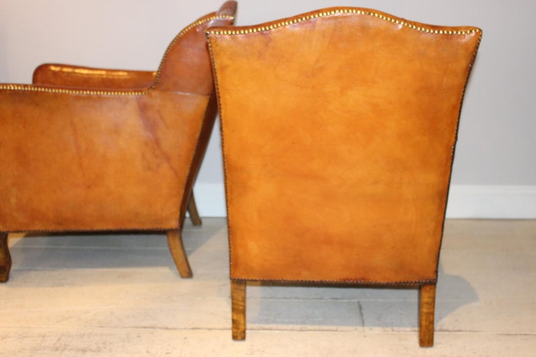 Late 19th Century Pair of circa 19th Century Stylish Swedish Warm Tan Leather Studded Armchairs For Sale