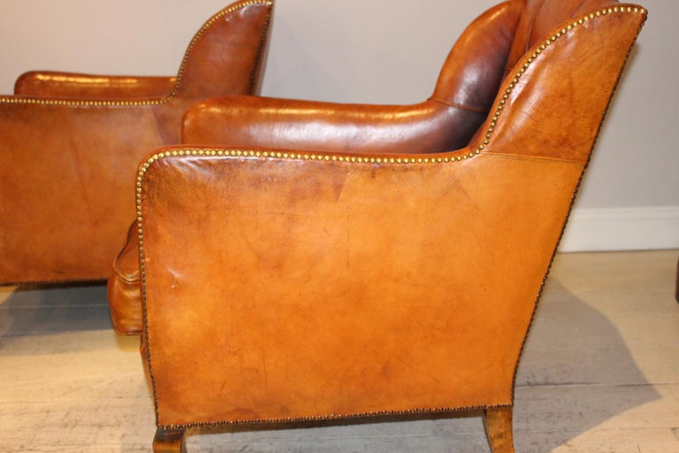 Pair of circa 19th Century Stylish Swedish Warm Tan Leather Studded Armchairs For Sale 1