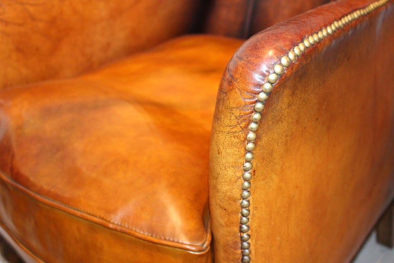 Pair of circa 19th Century Stylish Swedish Warm Tan Leather Studded Armchairs For Sale 2