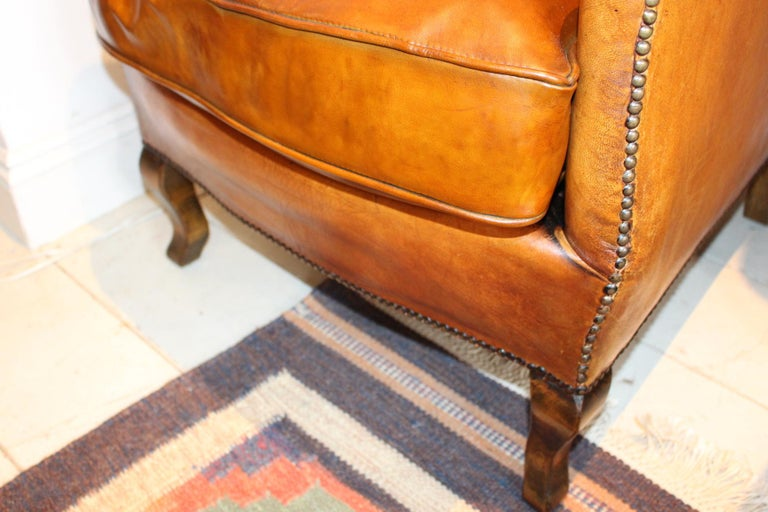 Pair of circa 19th Century Stylish Swedish Warm Tan Leather Studded Armchairs For Sale 4