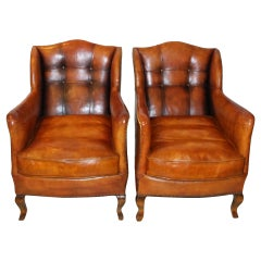 Pair of circa 19th Century Stylish Swedish Warm Tan Leather Studded Armchairs