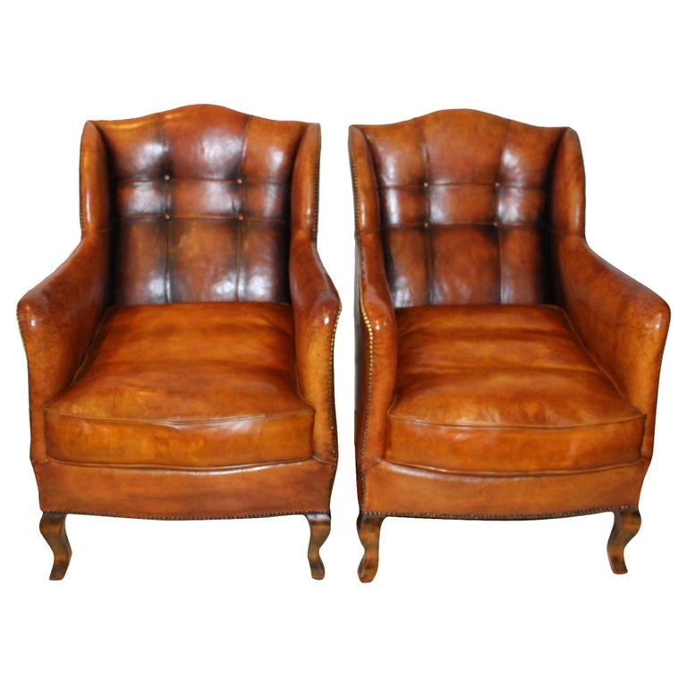 Pair of circa 19th Century Stylish Swedish Warm Tan Leather Studded Armchairs For Sale